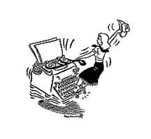 APW typing woman logo